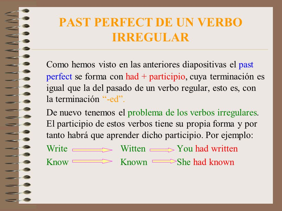 PAST PERFECT DE UN VERBO IRREGULAR