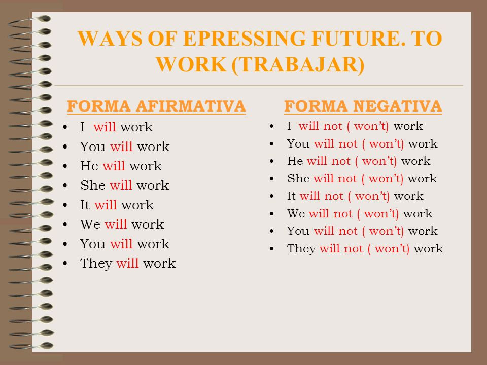 WAYS OF EPRESSING FUTURE. TO WORK (TRABAJAR)