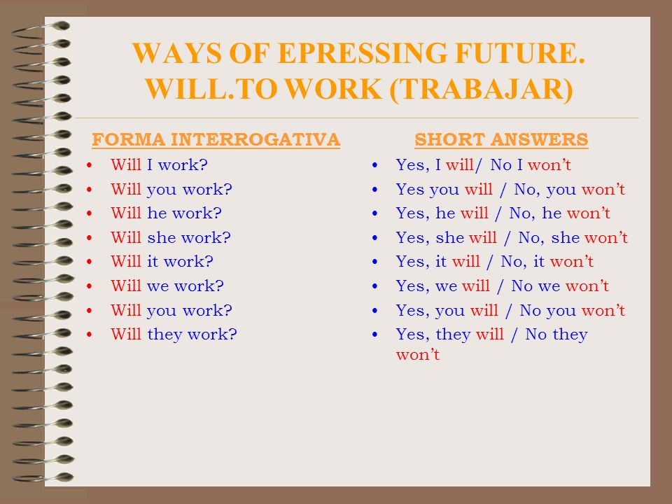 WAYS OF EPRESSING FUTURE. WILL.TO WORK (TRABAJAR)
