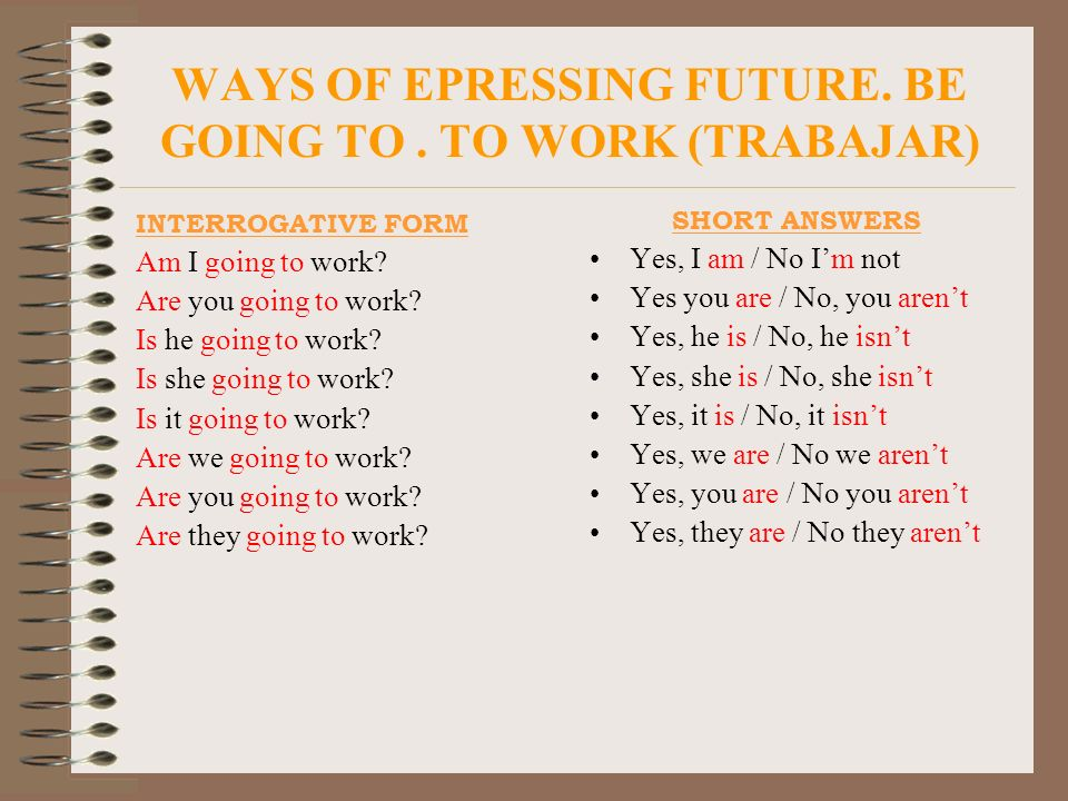 WAYS OF EPRESSING FUTURE. BE GOING TO . TO WORK (TRABAJAR)