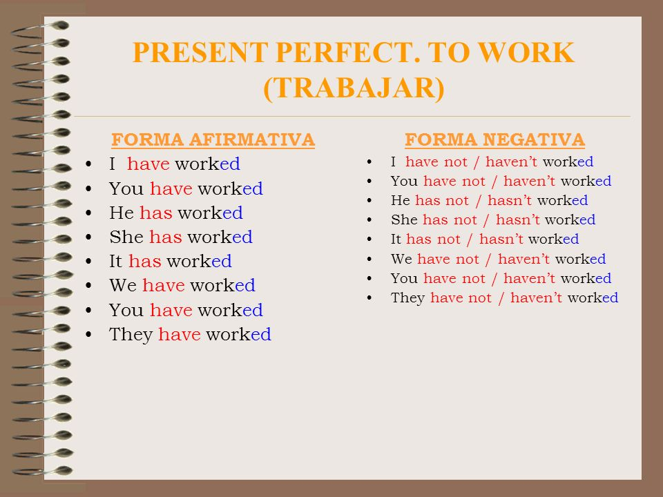PRESENT PERFECT. TO WORK (TRABAJAR)