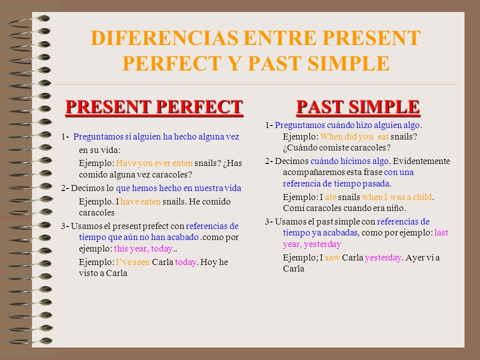DIFERENCIAS ENTRE PRESENT PERFECT Y PAST SIMPLE