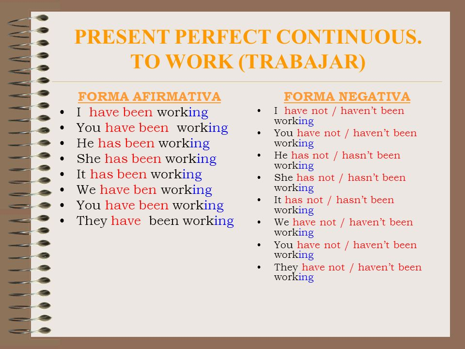 PRESENT PERFECT CONTINUOUS. TO WORK (TRABAJAR)