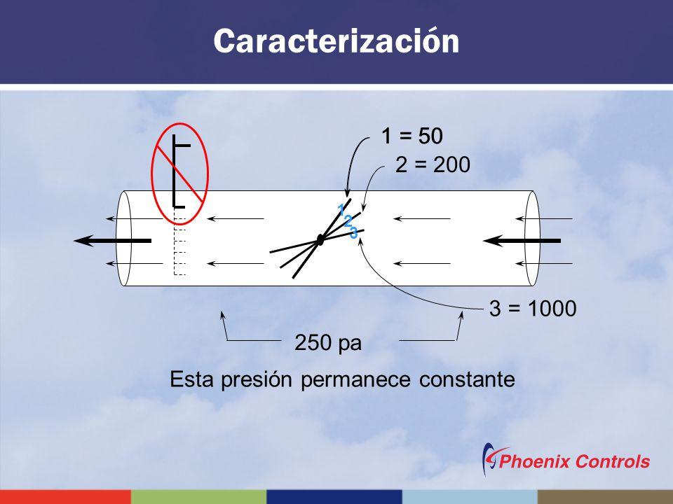Caracterización 1 = 50 1 = 50 2 = 200 3 = 1000 250 pa