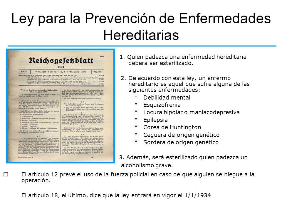 Ley para la Prevención de Enfermedades Hereditarias
