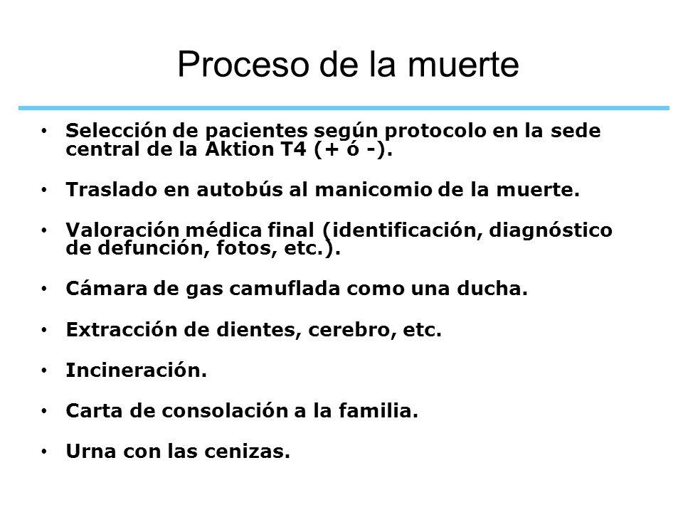 Proceso de la muerte Selección de pacientes según protocolo en la sede central de la Aktion T4 (+ ó -).