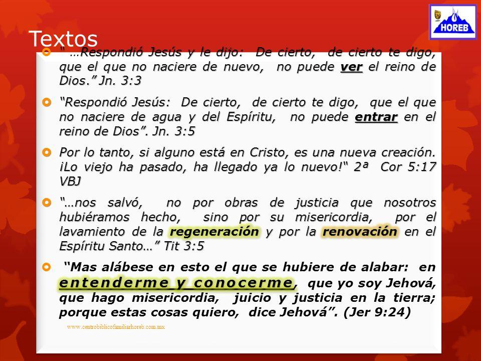 Textos …Respondió Jesús y le dijo: De cierto, de cierto te digo, que el que no naciere de nuevo, no puede ver el reino de Dios. Jn. 3:3.