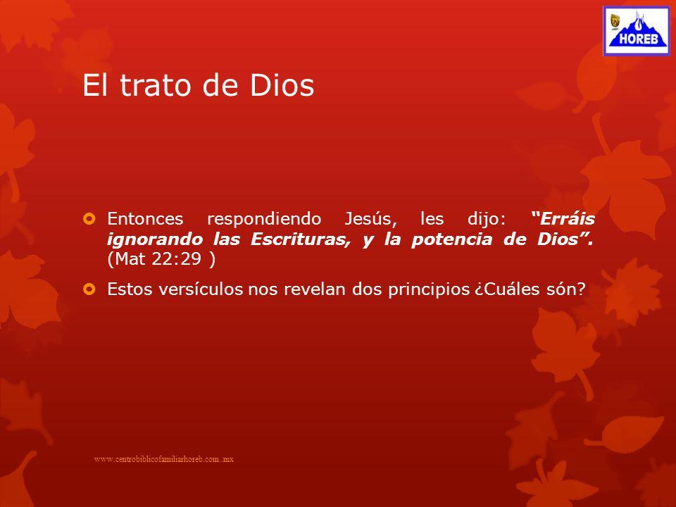 El trato de Dios Entonces respondiendo Jesús, les dijo: Erráis ignorando las Escrituras, y la potencia de Dios . (Mat 22:29 )