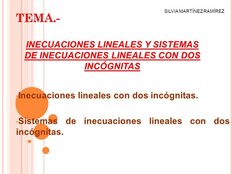 TEMA.- SILVIA MARTÍNEZ RAMÍREZ. INECUACIONES LINEALES Y SISTEMAS DE INECUACIONES LINEALES CON DOS INCÓGNITAS.