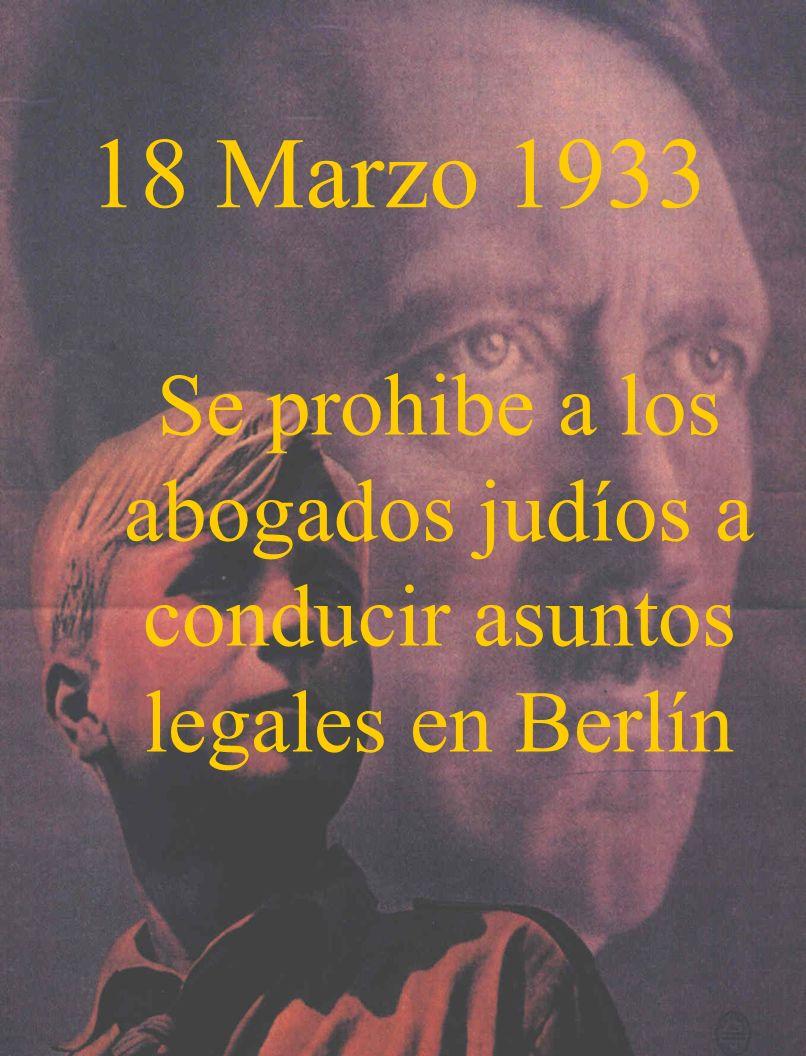 Se prohibe a los abogados judíos a conducir asuntos legales en Berlín