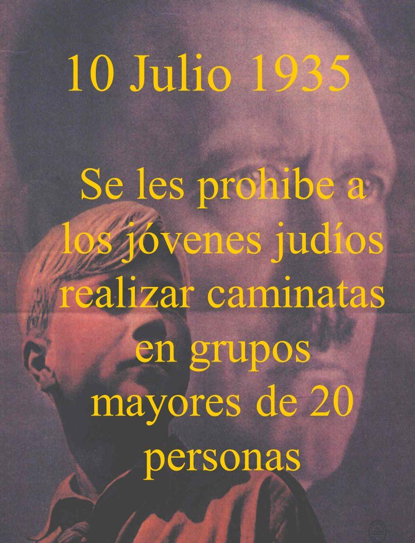 10 Julio 1935Se les prohibe a los jóvenes judíos realizar caminatas en grupos mayores de 20 personas.