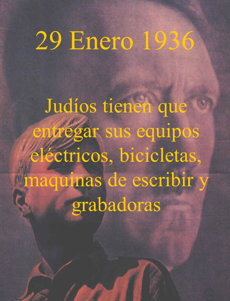 29 Enero 1936Judíos tienen que entregar sus equipos eléctricos, bicicletas, maquinas de escribir y grabadoras.