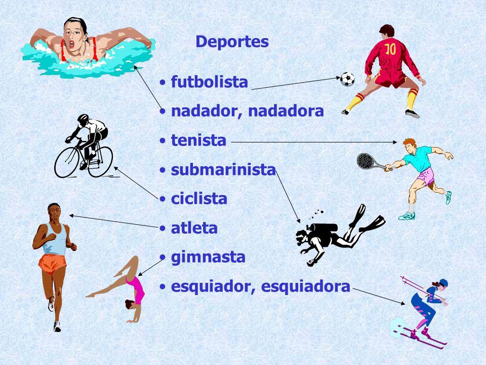 Deportes futbolista. nadador, nadadora. tenista.