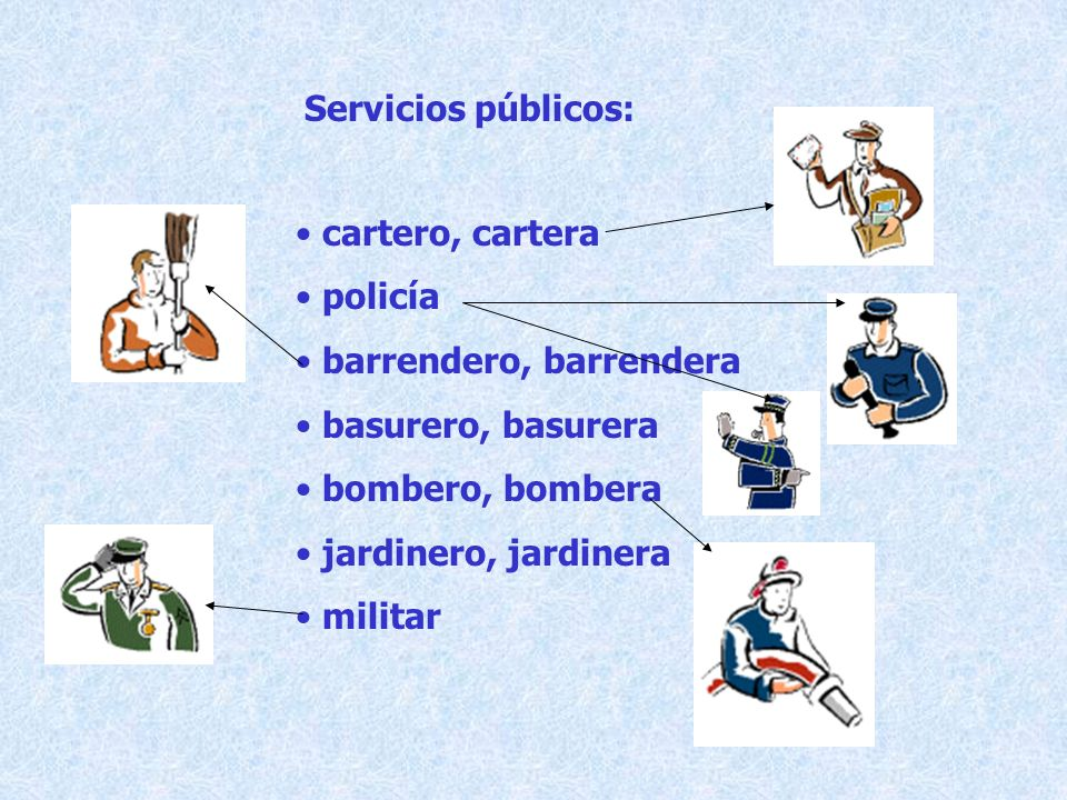Servicios públicos: cartero, cartera. policía. barrendero, barrendera. basurero, basurera. bombero, bombera.