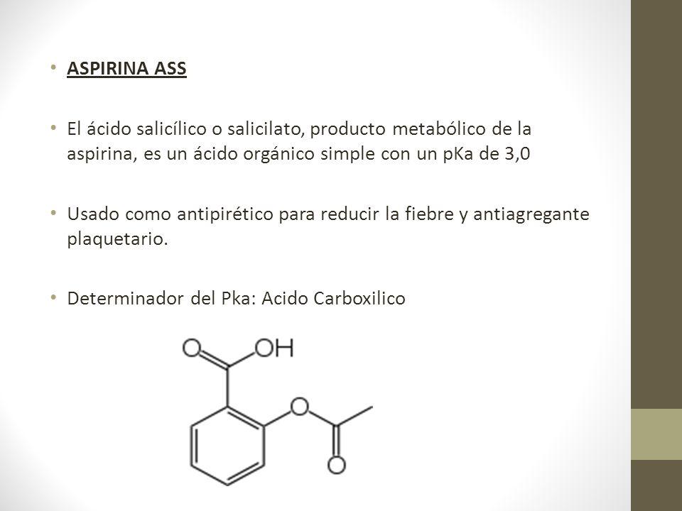 ASPIRINA ASS El ácido salicílico o salicilato, producto metabólico de la aspirina, es un ácido orgánico simple con un pKa de 3,0.