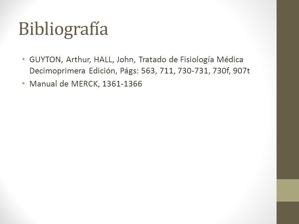 Bibliografía GUYTON, Arthur, HALL, John, Tratado de Fisiología Médica Decimoprimera Edición, Págs: 563, 711, 730-731, 730f, 907t.
