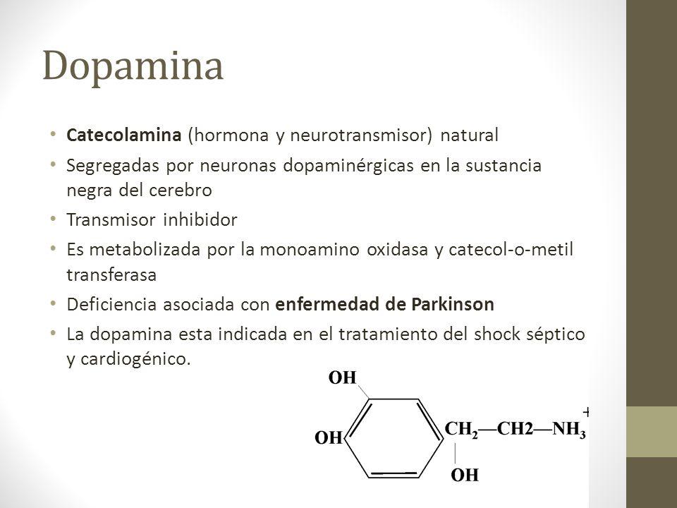 Dopamina Catecolamina (hormona y neurotransmisor) natural
