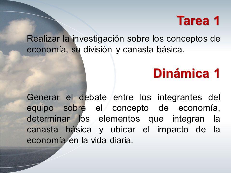 Tarea 1 Realizar la investigación sobre los conceptos de economía, su división y canasta básica. Dinámica 1.