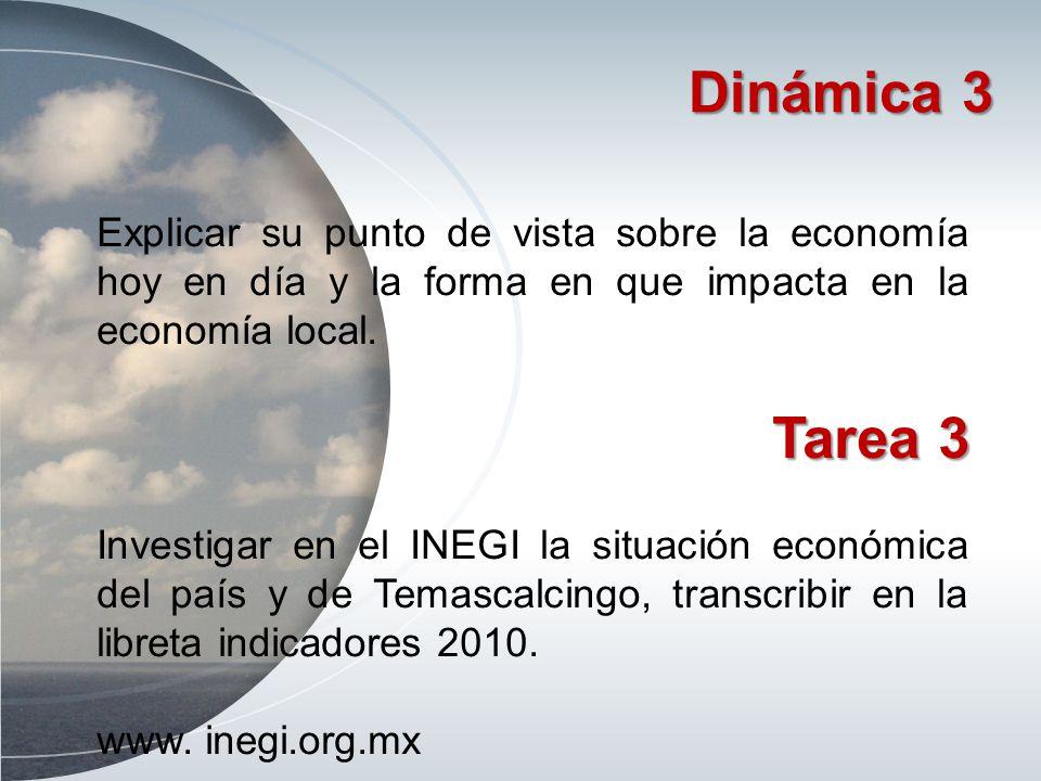 Dinámica 3 Explicar su punto de vista sobre la economía hoy en día y la forma en que impacta en la economía local.