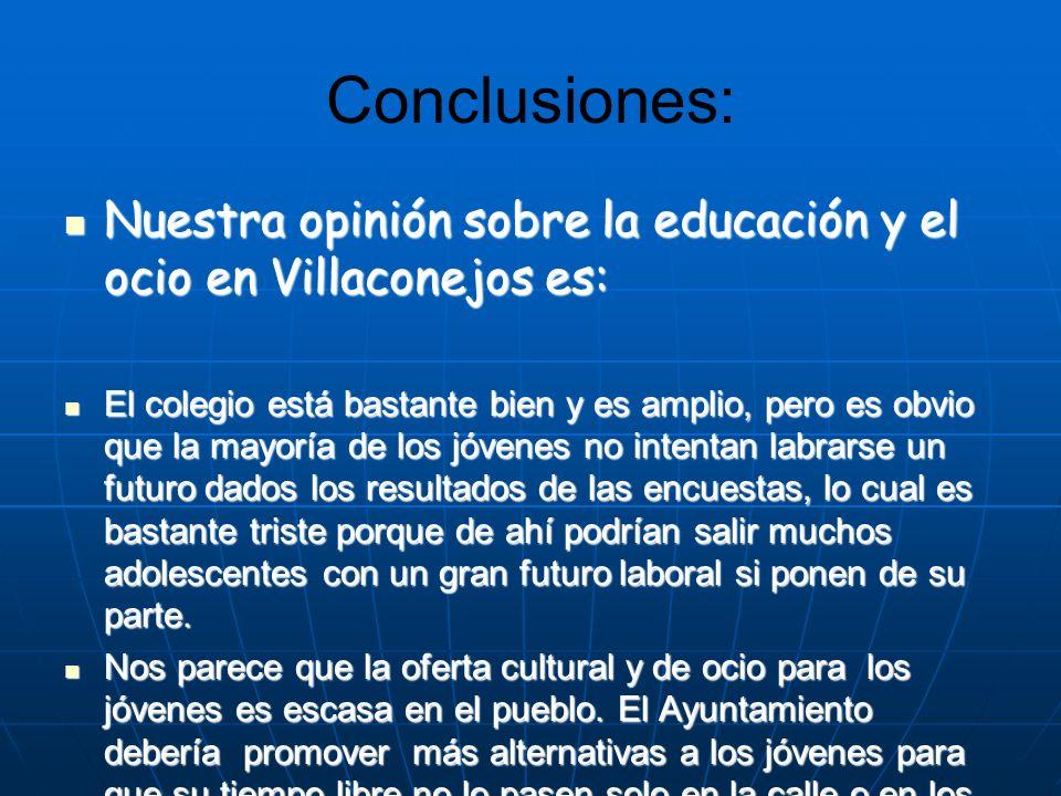 Conclusiones: Nuestra opinión sobre la educación y el ocio en Villaconejos es: