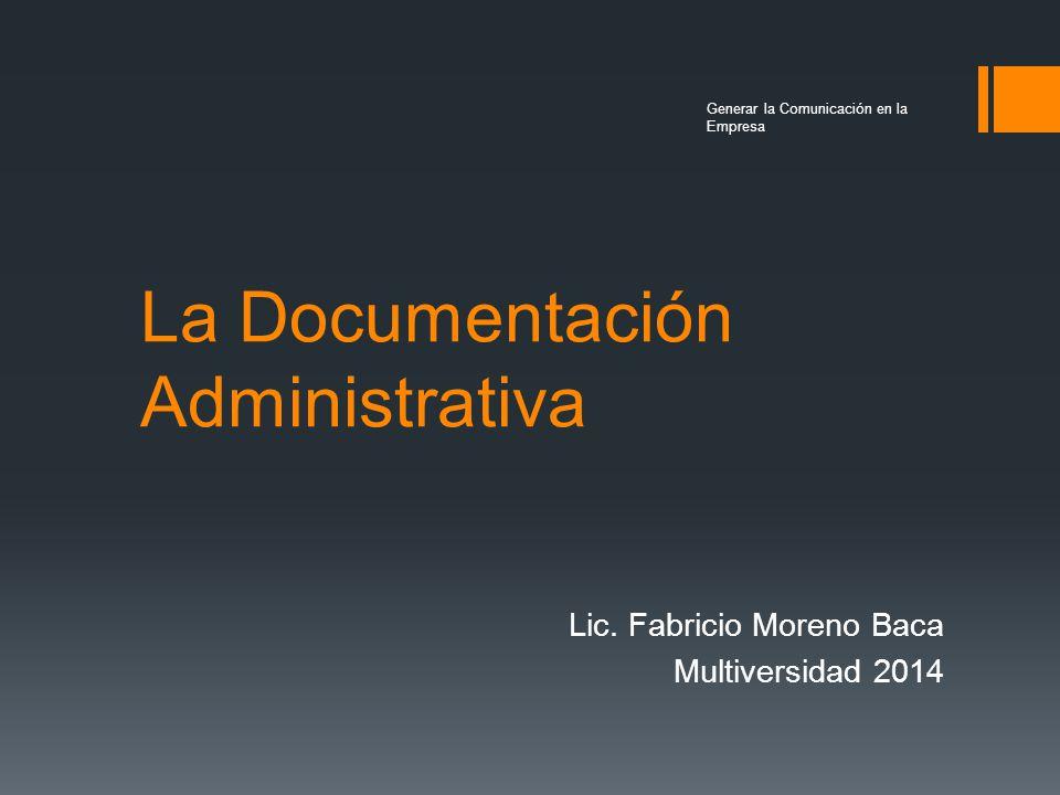 La Documentación Administrativa