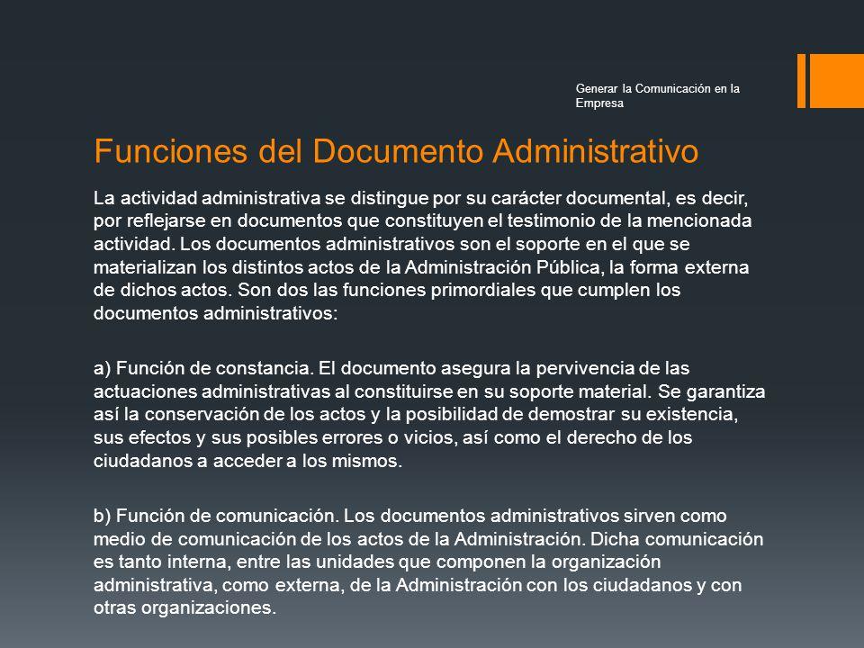 Funciones del Documento Administrativo