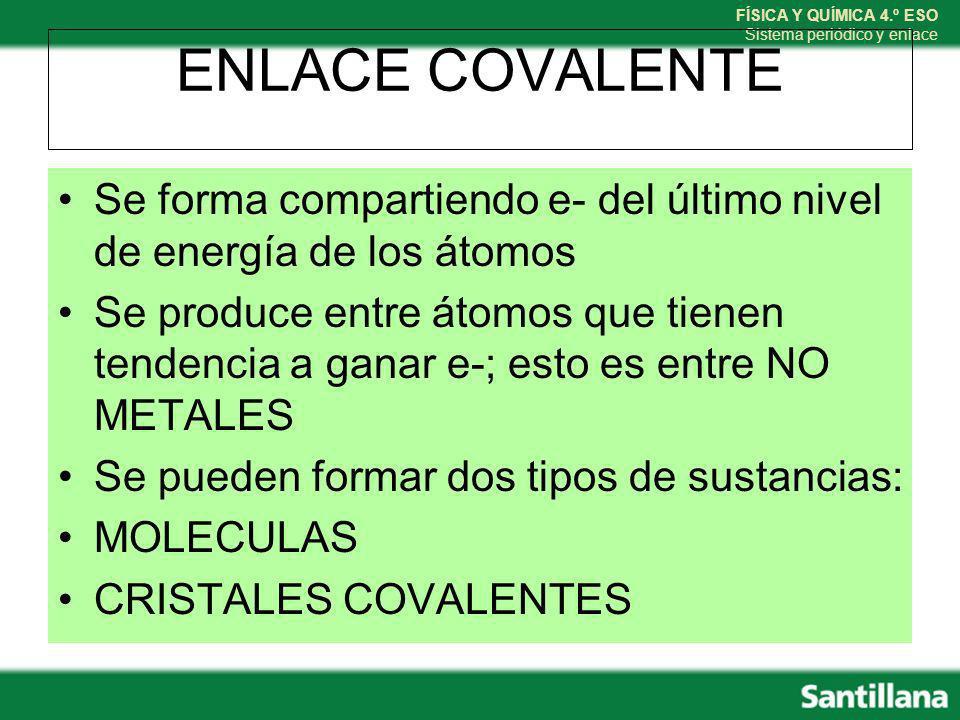 ENLACE COVALENTE Se forma compartiendo e- del último nivel de energía de los átomos.