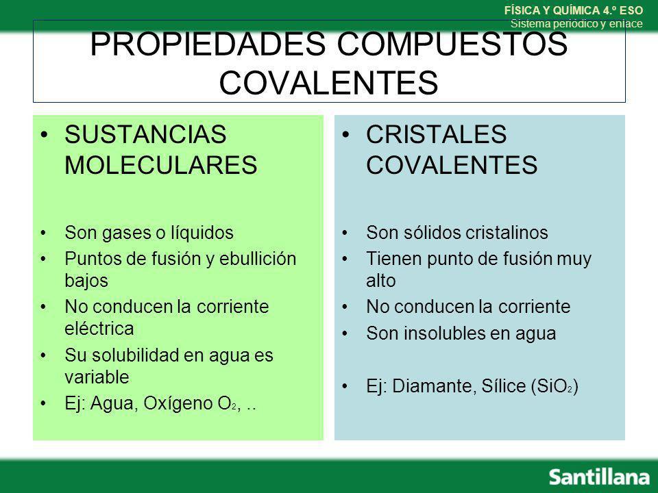 PROPIEDADES COMPUESTOS COVALENTES