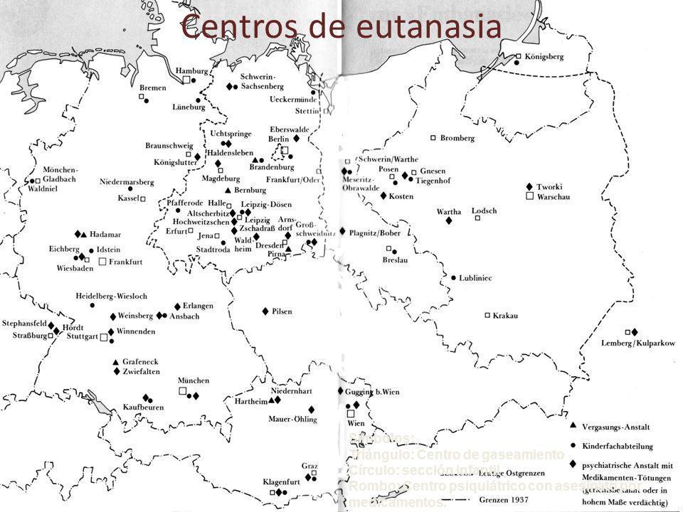 Centros de eutanasia Símbolos: Triángulo: Centro de gaseamiento