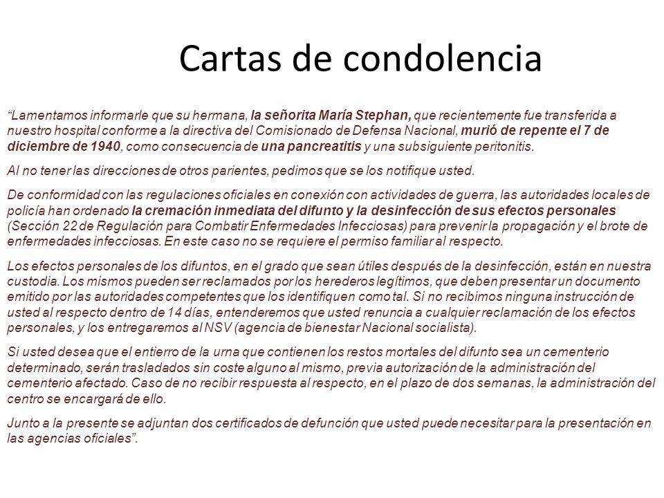 Cartas de condolencia
