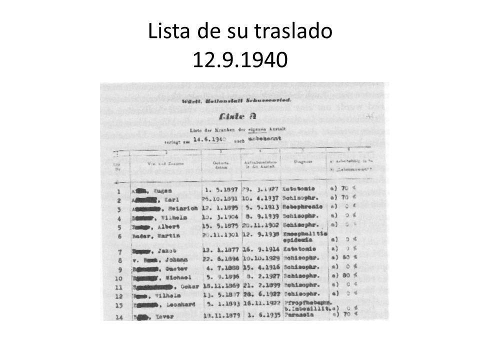 Lista de su traslado 12.9.1940