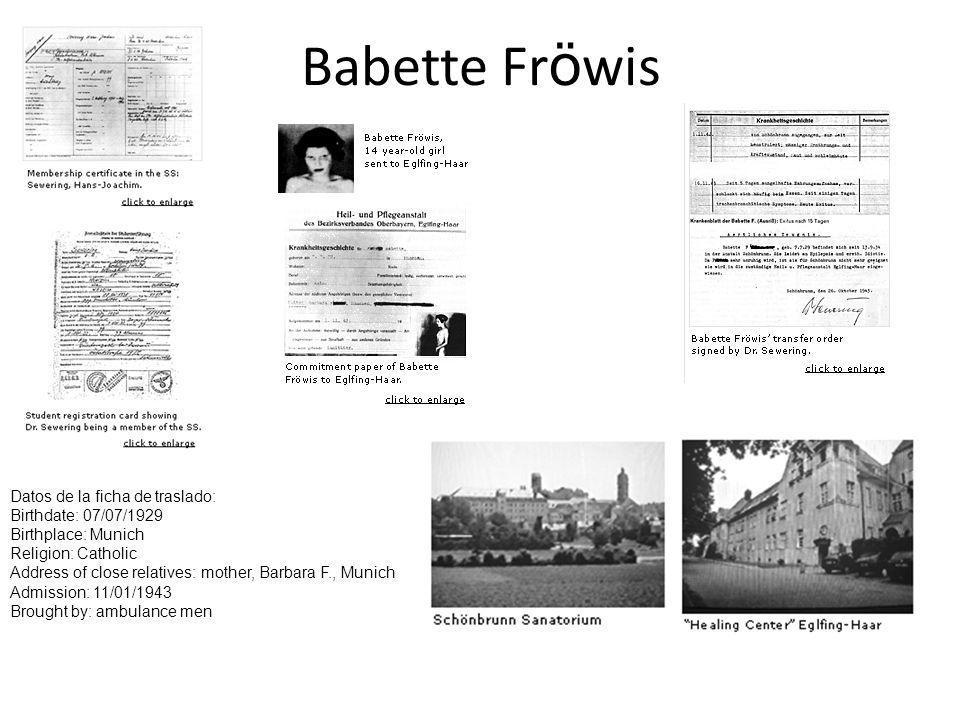 Babette Fröwis Datos de la ficha de traslado: