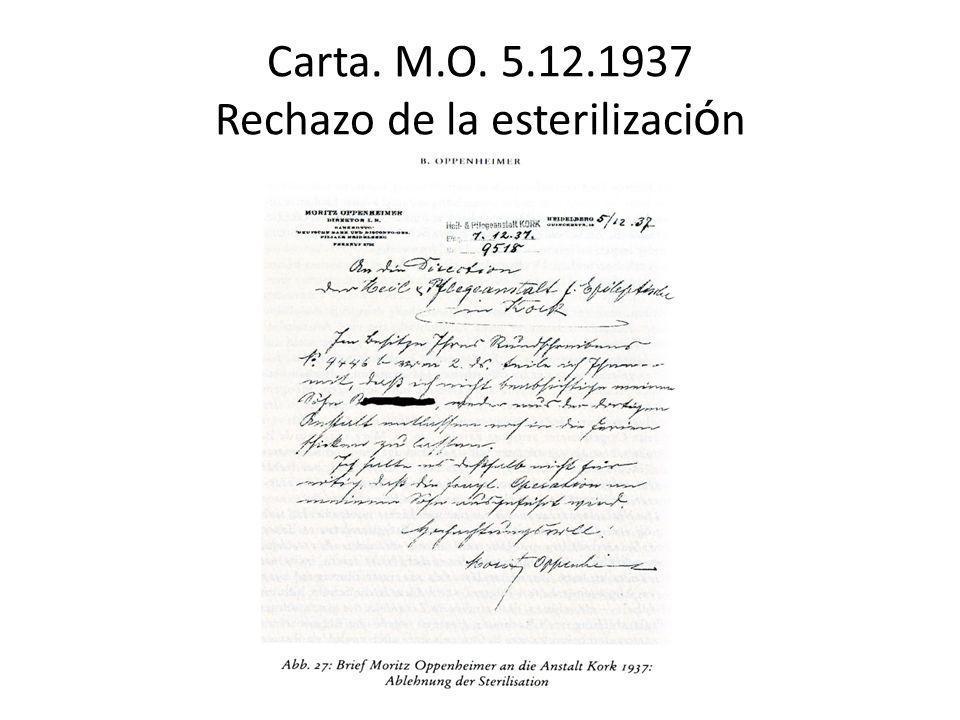 Carta. M.O. 5.12.1937 Rechazo de la esterilización