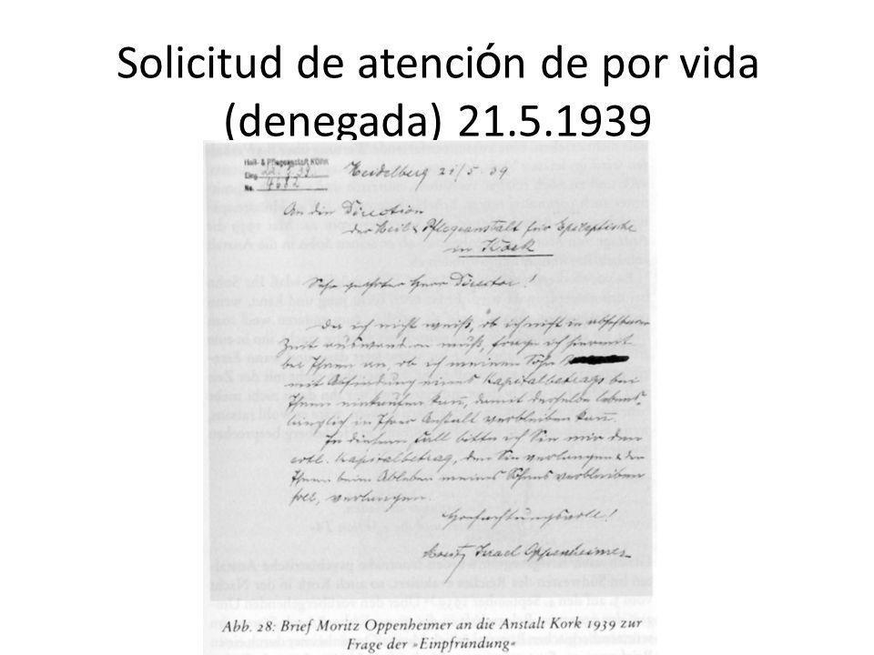 Solicitud de atención de por vida (denegada) 21.5.1939