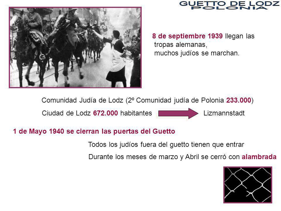 GUETTO DE LODZPOLONIA. 8 de septiembre 1939 llegan las tropas alemanas, muchos judíos se marchan.