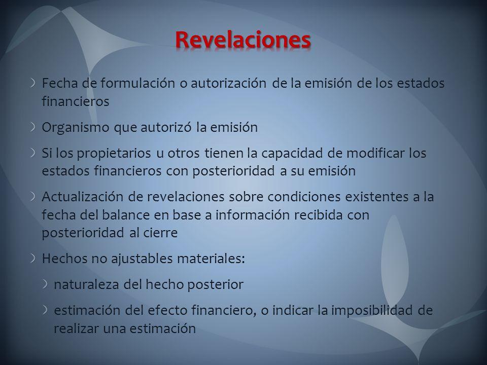 Revelaciones Fecha de formulación o autorización de la emisión de los estados financieros. Organismo que autorizó la emisión.