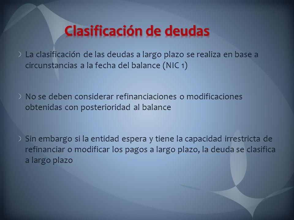 Clasificación de deudas