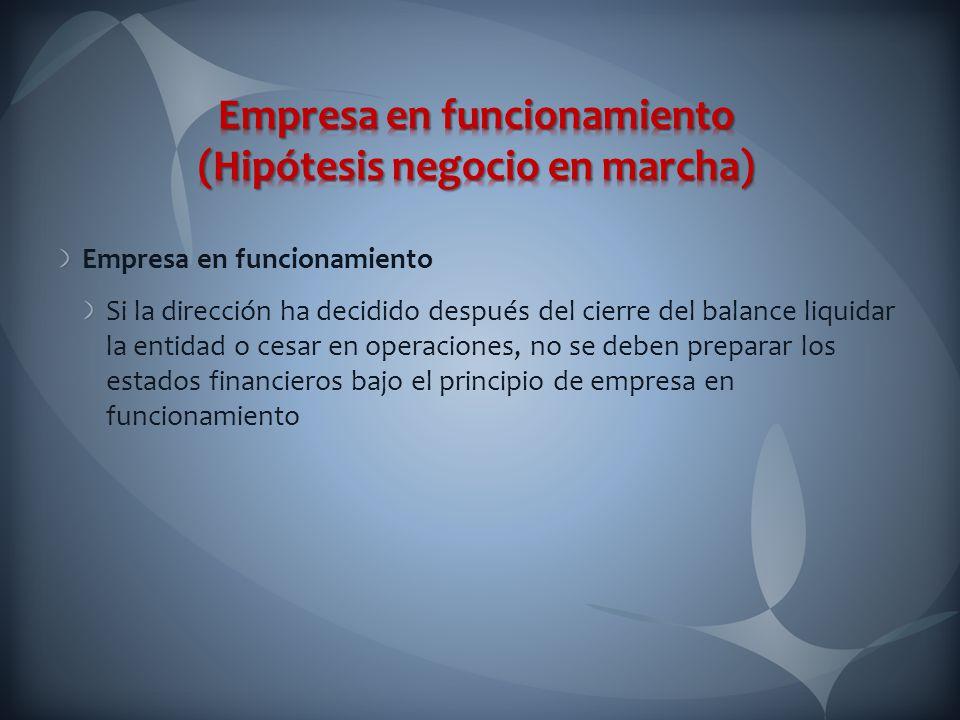 Empresa en funcionamiento (Hipótesis negocio en marcha)