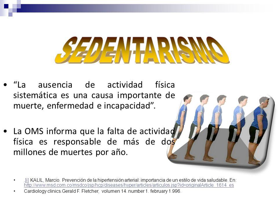 SEDENTARISMO La ausencia de actividad física sistemática es una causa importante de muerte, enfermedad e incapacidad .
