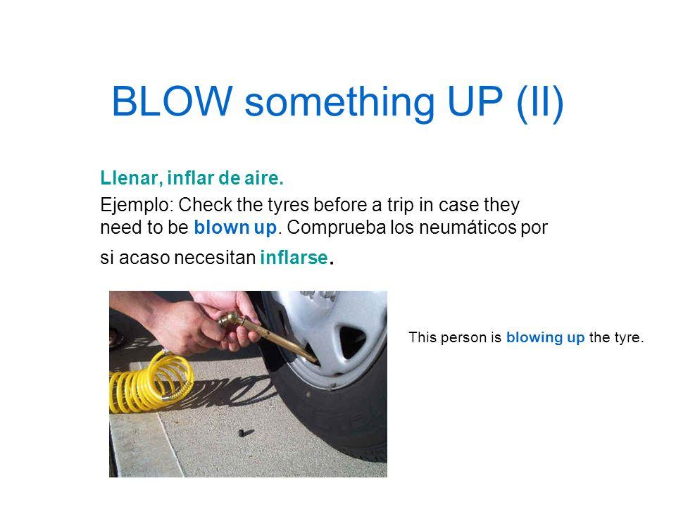 BLOW something UP (II) Llenar, inflar de aire.