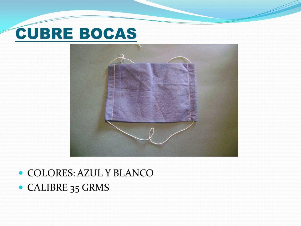 CUBRE BOCAS COLORES: AZUL Y BLANCO CALIBRE 35 GRMS