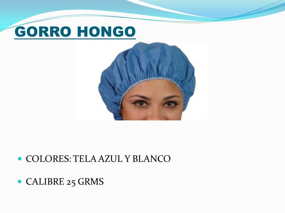 GORRO HONGO COLORES: TELA AZUL Y BLANCO CALIBRE 25 GRMS