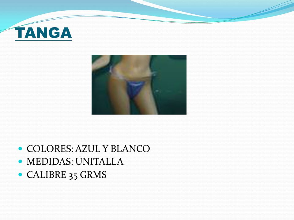 TANGA COLORES: AZUL Y BLANCO MEDIDAS: UNITALLA CALIBRE 35 GRMS