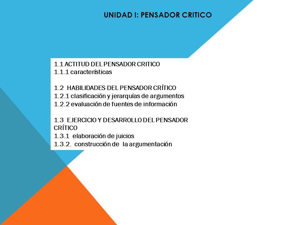UNIDAD I: PENSADOR CRITICO