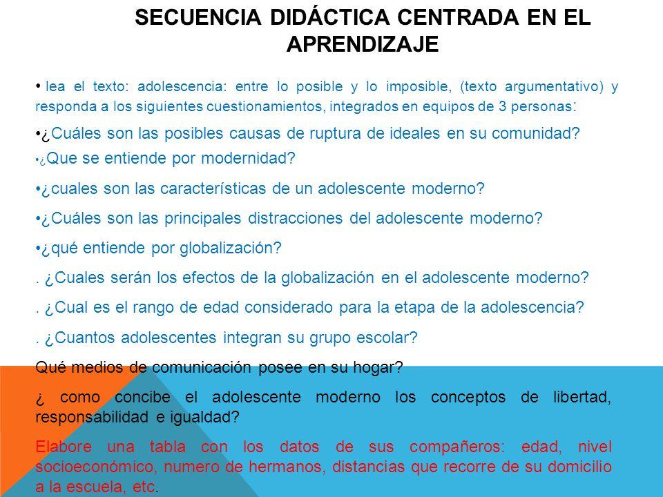 SECUENCIA DIDÁCTICA CENTRADA EN EL APRENDIZAJE