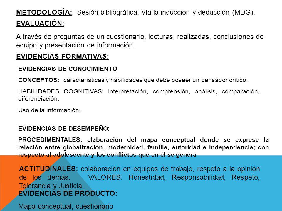Sesión bibliográfica, vía la inducción y deducción (MDG).