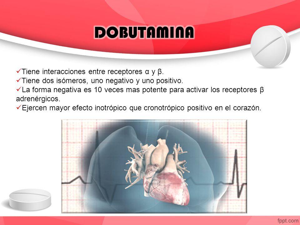 DOBUTAMINA Tiene interacciones entre receptores α y β.