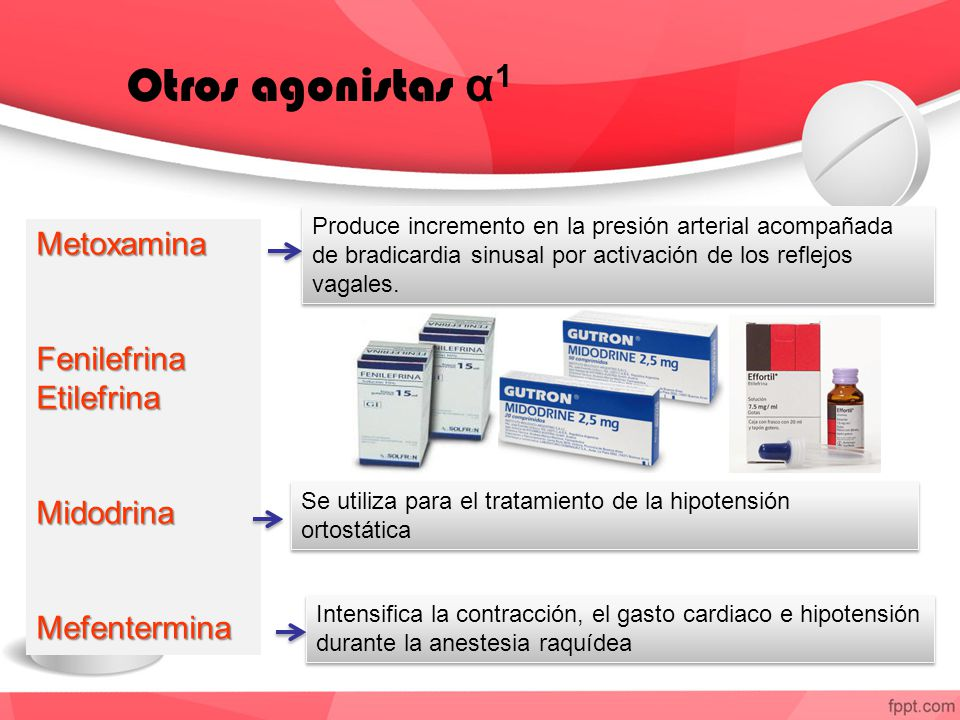 Otros agonistas α1 Metoxamina Fenilefrina Etilefrina Midodrina