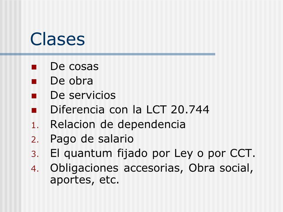 Clases De cosas De obra De servicios Diferencia con la LCT 20.744