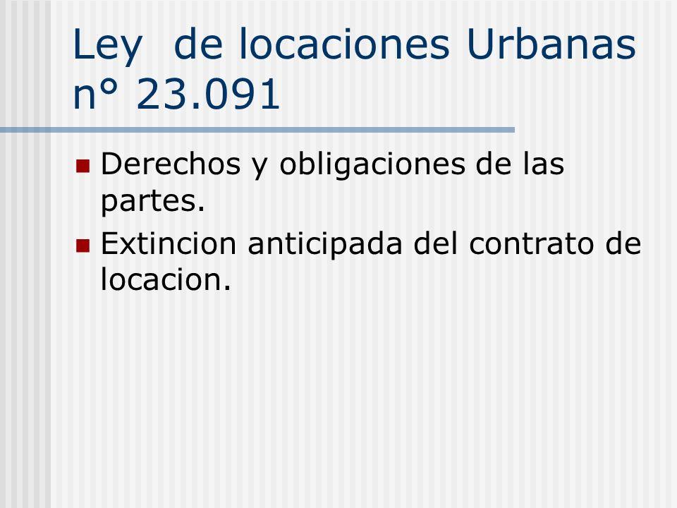 Ley de locaciones Urbanas n° 23.091